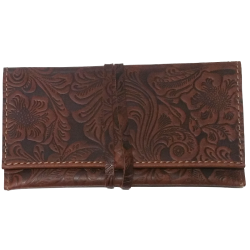 Tobacco bag Flower quilted, brown 16cm