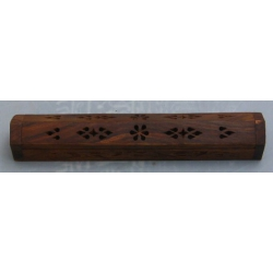 - Joss Stick Holder Wood with Flower Inlay