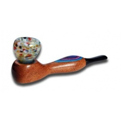 Wooden Pipe with Glass Bowl